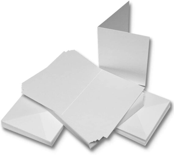 Craft UK W111 A6 Linen Card and Envelope Pack of 50 - White