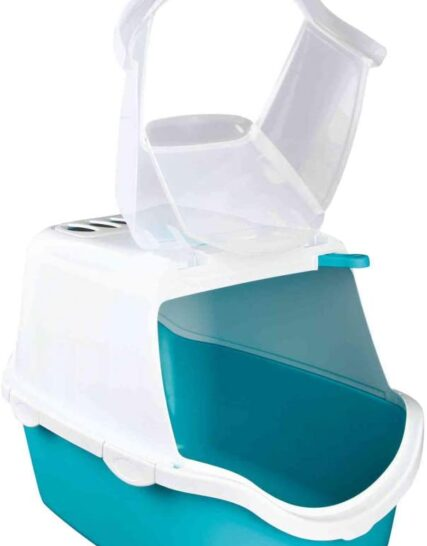 Trixie Vico Easy Clean Cat Litter Tray with Dome, 40 x 40 x 56 cm, Turquoise/White