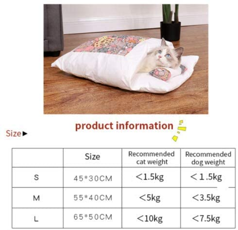 Adayo Movable Winter Warm Cat House Small Pet Bed Cat Sleeping Bag (L, Blue)