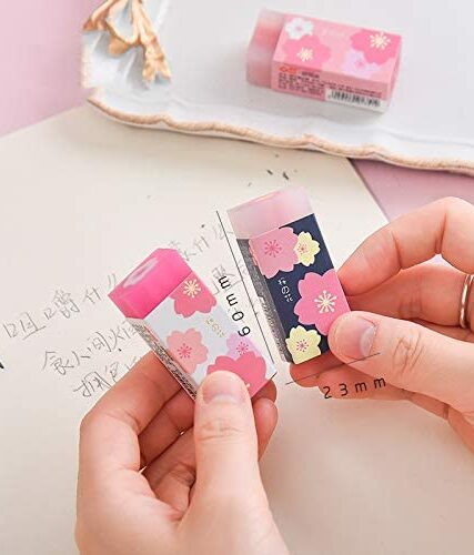 10pcs Cute Japanese Flower Printed Cherry Blossom Rubber Eraser Student Office School Correction Supplies Stationery