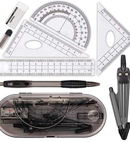 8 Pieces Math Set Compass Set Anlising Geometry Set Math Compass Kit Drawing Compass and Protractor Set Student Educational Supplies Exam kit, for School Student