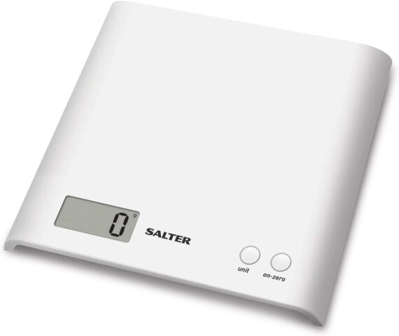 Salter Arc Digital Kitchen Scales – Electronic Food Weighing, Slim Design Cooking Scale Appliance for Home, LCD Display, Add & Weigh, Compact Storage, Easy to Clean, 15 Year Guarantee - White