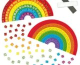Baker Ross AF400 Rainbow Mosaic Make Your Own Magnet Kits — Creative Art and Craft Supplies for Kids to Personalise and Decorate (Pack of 4), Assorted, 11cm