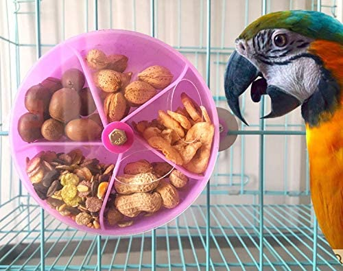 Bird Foraging Toy Seed Food Ball Rotate Wheel for Parrot Budgie Parakeet Cockatiel Conure African Grey Cockatoo Macaw Amazon Lovebird Finch Canary Cage Feeder