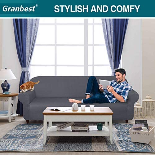Granbest Thick Sofa Covers 3 Seater Stylish Pattern Stretch Couch Covers Non-Slip Sofa Slipcover with Elastic Bottom for Living Room Dog Pet Furniture Protector (3 Seater, Light Grey)