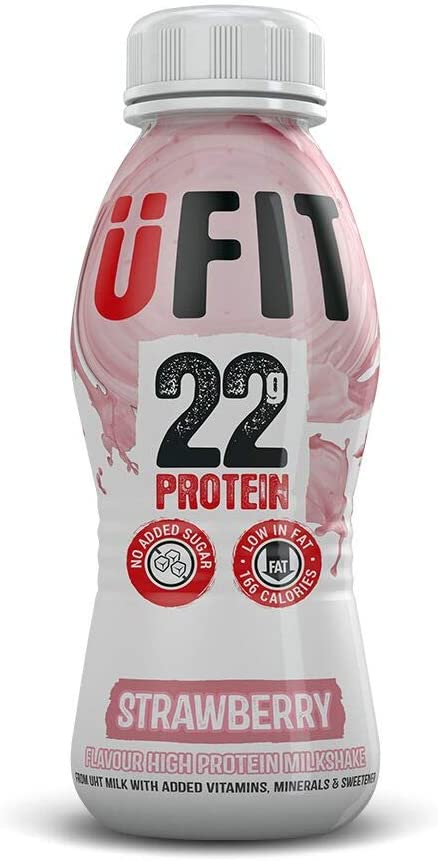 UFIT High 22g Protein Shake, No Added Sugar, Low Fat – Strawberry Flavour Ready To Drink (Pack of 8 x 310ml)