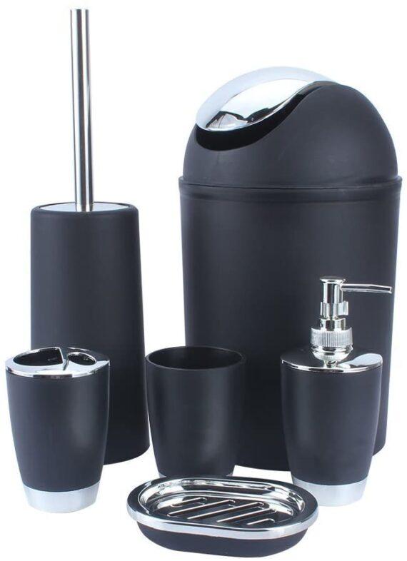 BATHROOM SET 6 PIECE ACCESSORY BIN SOAP DISH DISPENSER TUMBLER TOOTHBRUSH HOLDER (BLACK)