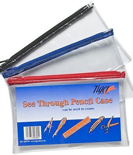 6 x Clear Exam Pencil Case See Through 20cm x 12.5cm Zip Bag Transparent Extra Strong