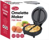 Dual Omelette Maker Electric - Easy Clean Non-Stick Cooking Plate - Makes Healthy Omelettes, Scrambled & Fried Eggs - Featuring Ready Indicator Light & Cool Touch Handle