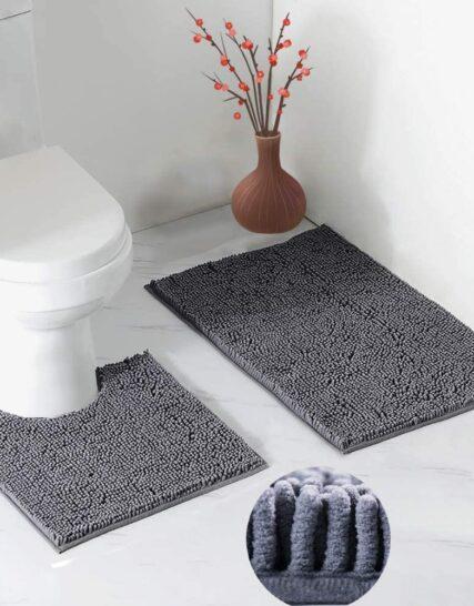 LUFENG Bath Mat Set 2 Pieces, 20 * 31'' Bathroom Mat and 20 * 20'' U Shape Toilet Rug with Non Slip Adhesive Bottom, Bath Rug for Floor Tub Shower Bedroom, Machine Washable (Dark Grey)