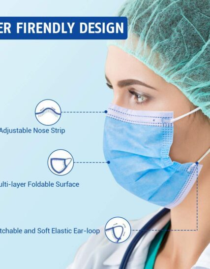 50pcs Medical Face Masks 3 Layer Protective Dust Particle Facial Cover Disposable Masks Type I, CE Verified and Tested, EN14683:2019, BFE≥95, in Sealed Box for Men Women Adult Kids - Blue
