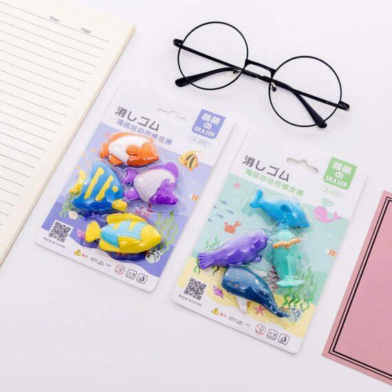 Fugift 4pcs/set Creative Ocean Animal Pencil Rubber Eraser School Student Korean Stationery Correction Supplies For Kids Gifts