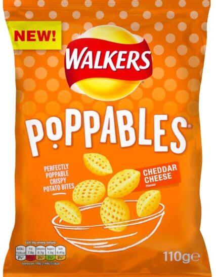 Walkers Crisps Poppables Cheddar Cheese Snacks, 110g