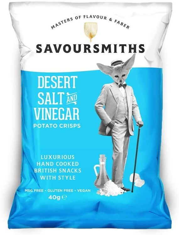 SAVOURSMITHS Desert Salt and Vinegar Luxury English Potato Crisps, 150 g, 12-Count