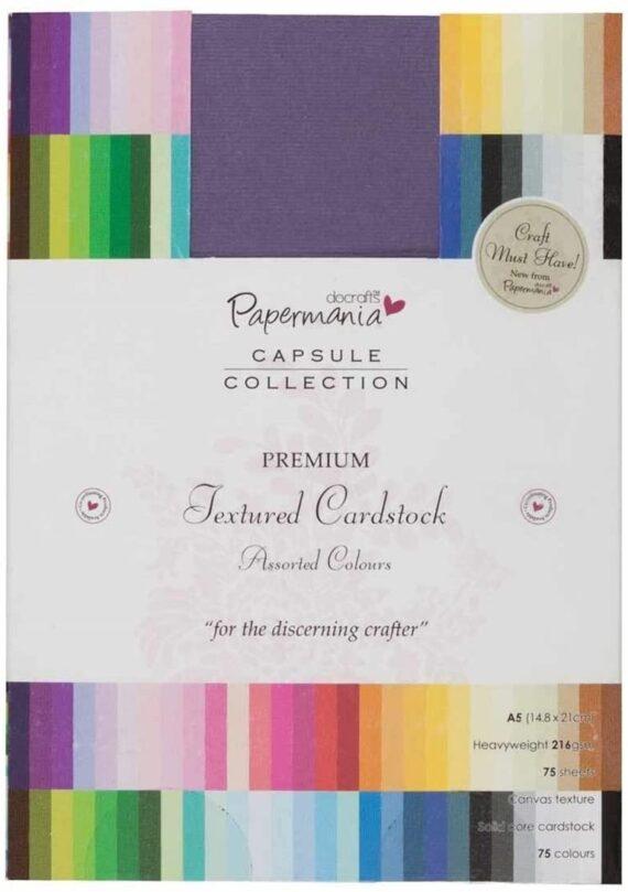 Docrafts A5 Premium Cardstock Texture Capsule, Multicolour (Pack of 75)