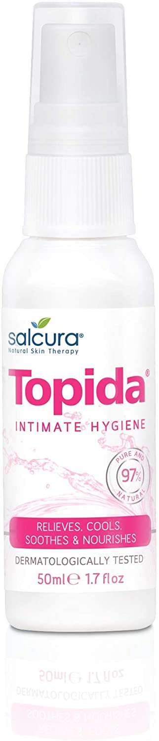Salcura Natural Skin Therapy, Topida Essential Oil Intimate Hygiene Spray Contains, Safflower, Rosehip, Vitamin E. Perfect For Anyone Prone To Thrush, Vaginal Discomfort & Irritation Or Soreness 50ml
