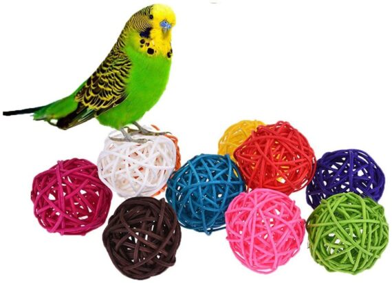 Keersi 10pcs Rattan Balls Bird Toy Part DIY Accessory for Parrot Budgie Parakeet Cockatiel Conure Lovebird Finch Macaw African Grey Cockatoo Amazon Cage Part Random Color (3cm/ 1.18'')
