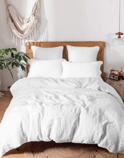 Simple&Opulence 100% Linen Duvet Cover Set-King Size(230x220cm)-3 Pieces Solid Color Basic Style Bedding-Breathable Soft Hypoallergenic Comforter Cover with 2 Pillowshams(White)
