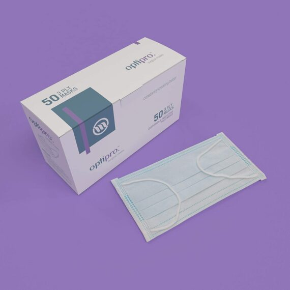 OptiPro Surgical Face Masks (x50) – Type IIR, 3 Ply Disposable Protective Face Masks - Non-Woven Multi-Layered System with High Filtration Capacity