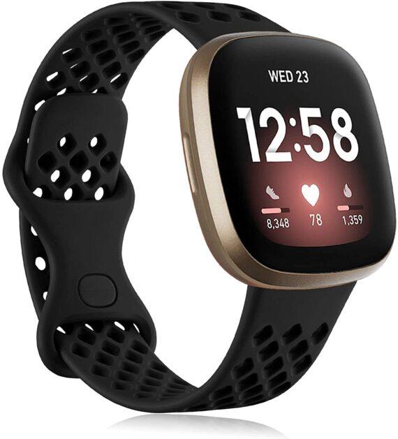 Oielai Strap Compatible with Fitbit Versa 3 Strap/Fitbit Sense Straps, Soft Silicone Sport Replacement Band Compatible for Fitbit Versa 3/Fitbit Sense, Small Black