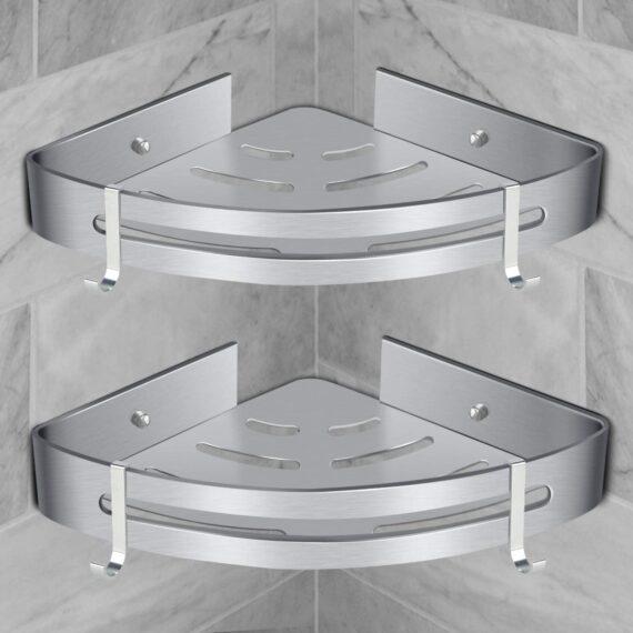 Bathroom Corner Shelves, RenFox Shower Shelf Corner Shelf No Drilling Shower Basket Caddy Shower Organiser Storage Corner Adhesive Aluminum Wall Mounted with Hooks (Triangle, 2 Pack, Polished Silver)