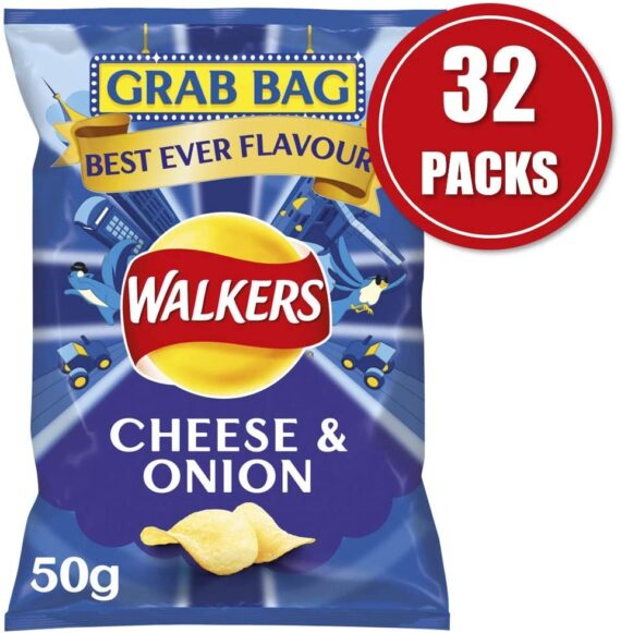 Walkers Snack Foods Cheese and Onion Grab Bag Crisps, 50 g (Case of 32)