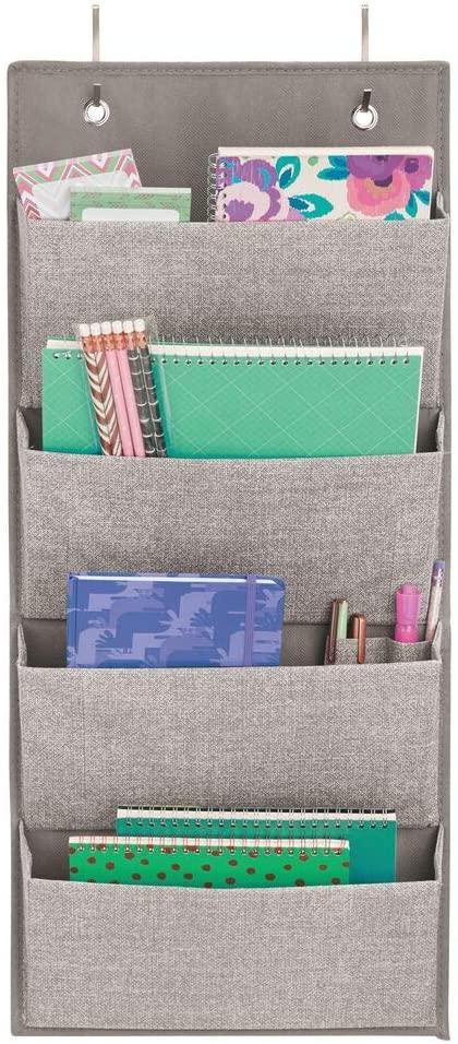 mDesign Office Storage Organiser – Linen Over Door Storage Rack in Jute Pattern – 4 Hanging Storage Pockets for Notebooks, Files or Folders in The Office – Grey