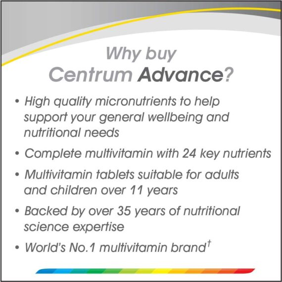 Centrum Advance Multivitamins and Minerals tablet, 100 tablets (up to 3 months supply), 24 key nutrients Vitamins and Minerals for men and women, Vitamin D, Complete from A to Zinc