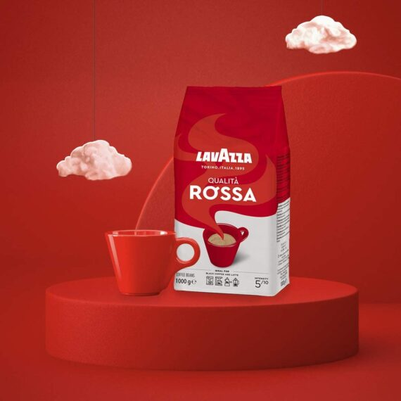 Lavazza Qualita Rossa, Arabica and Robusta Medium Roast Coffee Beans, Pack of 1kg