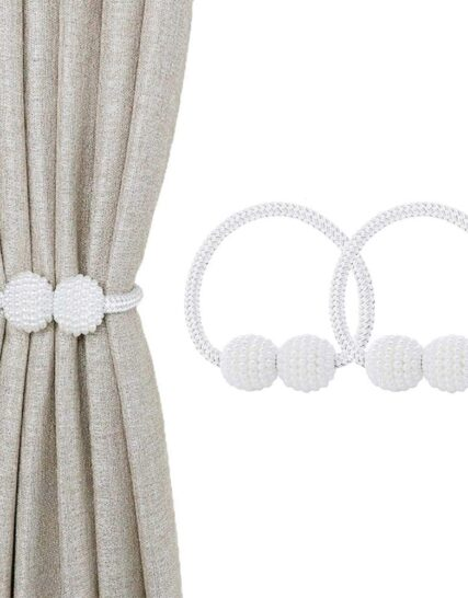 jiuhao Magnetic Curtain Tiebacks, 2PCS Magnetic Curtain Clips Rope Curtain Holder Buckles Small Bead Curtain Buckle Clips Rope Holders for Home Office Hotel Window Decoration(Off-White)