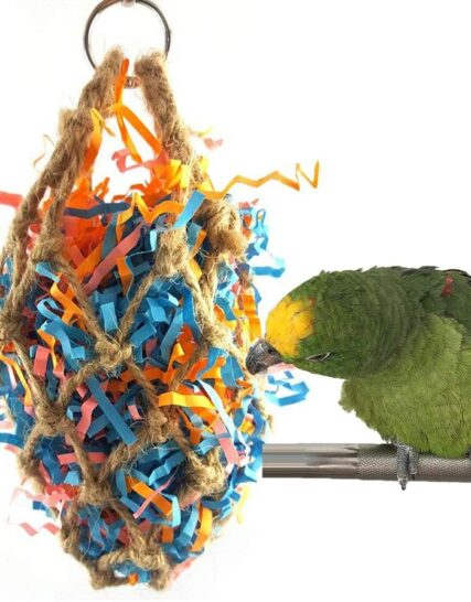 Keersi Jute Paper Strips Bird Chew Toy for Pet Parrot Budgie Parakeet Cockatiel Conure Lovebird Finch Canary Cockatoo African Grey Macaw Eclectus Amazon Cage Accessories