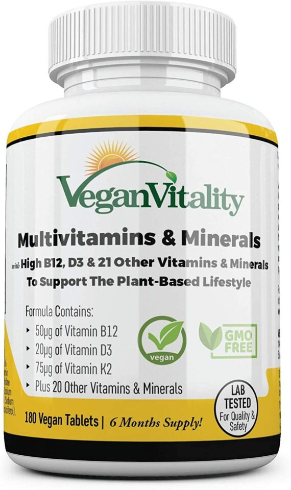 Vegan Multivitamins & Minerals with High Strength Vitamin B12, D3 & K2. 180 multivitamin Tablets - 6 Months Supply. Designed for Vegans & Vegetarians.