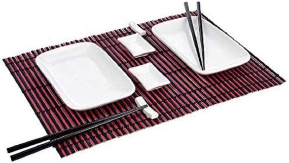 10 Piece Sushi Dining Set - 2 x Ceramic Sushi Plates, 2 x Ceramic Dip Bowls, 2 x Placemats, 2 x Ceramic Chopstick Rests, 2 Pairs of Chopsticks. Two Person Sushi Japanese Dining Set