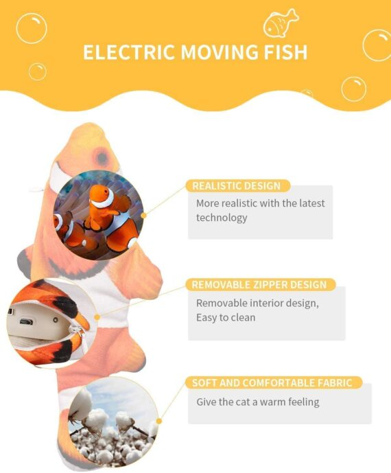 Peteast Cat Toys, Electric Moving Realistic Wiggle Fish Catnip Toys, Plush Interactive Cat Toys - Fish Kicker Toy for Cats Kitten Kitty