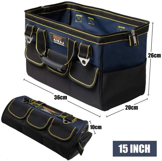 AIRAJ Tools Bag 38 * 21 * 26 cm, with Soft Shoulder Strap,Cloth Tool Storage Bag, 14 Multi-Pockets and Top Wide Mouth/Double Zipper(Blue & Black)