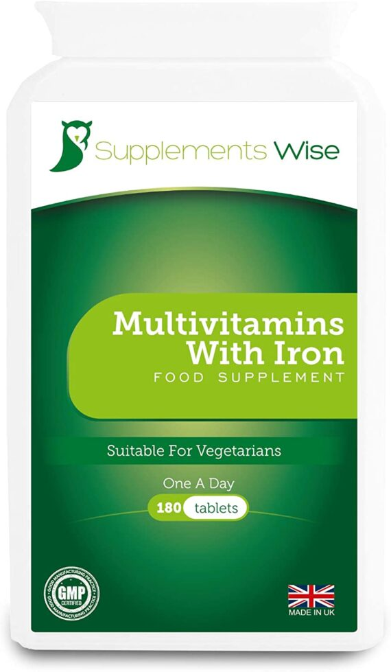 Multivitamins with Iron - 180 Tablets - One A Day - Full Strength Vitamin and Mineral Supplement with Vitamin C, Vitamin D3, Vitamin B & All Essential Vitamins - Suitable for Adult Men and Women