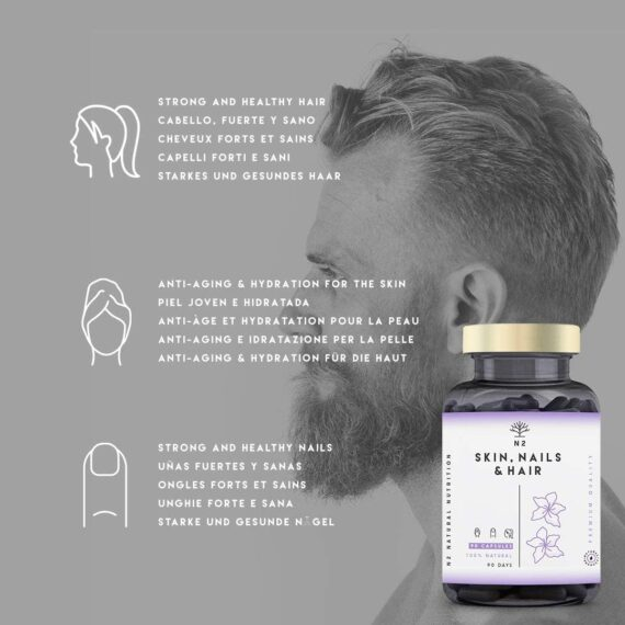 Hair Skin and Nails Supplement Biotin Hair Growth Nails Beard and Skin Care. Vitamins and Minerals for Women and Men. Fight Hair Loss 90 capsules High Strength UK Vegan Certified N2 Natural Nutrition