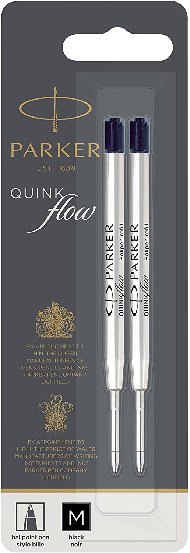 PARKER QUINKflow Ballpoint Pen Ink Refill, Medium Tip, Black, 2 Pack