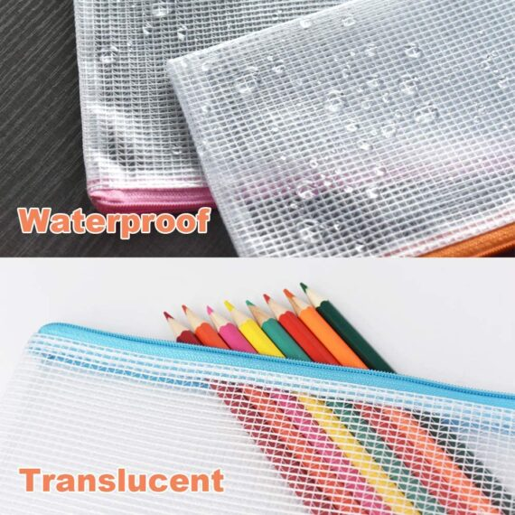 Umriox Zipper File Bags Mesh Pencil Pouch, 20Pcs Pencil Case Folder Wallets Waterproof Travel Storage Pouch for School Supplies, Bills, Cosmetics, Office Stationery and Travel Accessories, 10 Colours