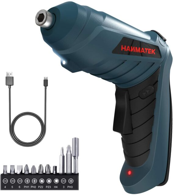Electric Screwdriver,HANMATEK Cordless Screwdriver Tool Rotated 90 Degrees with Rechargeable Battery & LED Light for Home DIY