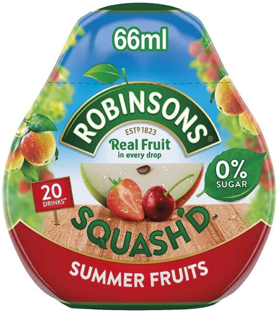 Robinsons SQUASH'D, No Added Sugar, Real Fruit, Summer Fruits, Makes 20 Drinks Per Pack, 6 Packs