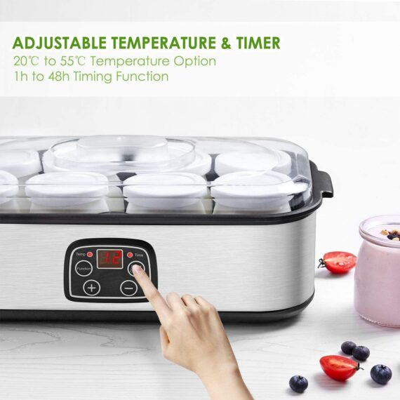 Electric Yoghurt Maker, Aicok Yoghurt Maker Machine Stainless Steel with 8 Glass Jars 1440ml, Homemade Fresh Yoghurt Maker with Auto Switch-Off Settings, Adjustable Temperature, LED Display