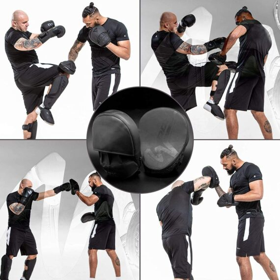 RDX Boxing Pads Focus Mitts, ConvEX Skin Leather Curved Hand Pad with Adjustable Strap, Hook and Jab Hand Strike Shield for MMA, Martial Arts, Punching Target, Muay Thai Training Matte Black