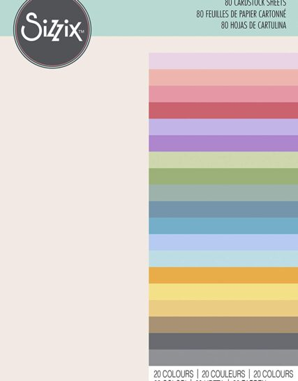 Sizzix Surfacez-Cardstock Sheets, 80Pk, 20, Craft Paper for Card Making, Scrapbooking & Craft Projects, Multi Colour, Bold, 29.7 x 20.96 x 2.29 cm