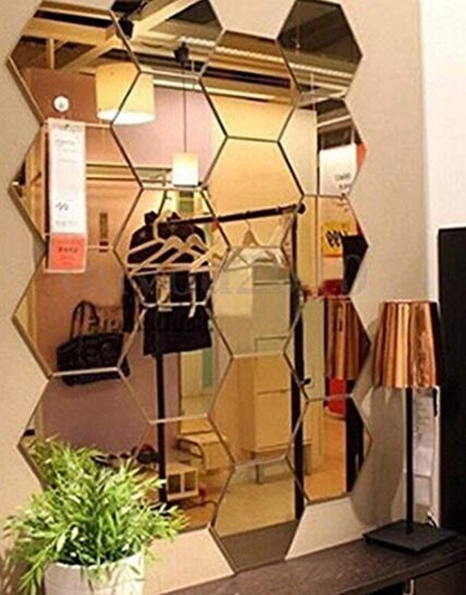 Mirror Wall Stickers, 12PCS Hexagon Mirror Art DIY Home Decorative Hexagonal Acrylic Mirror Wall Sheet PlasMirror Tiles for Home Living Room Bedroom Sofa TV Background Wall Decal Decoration Deco