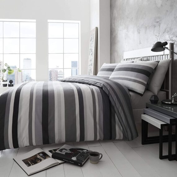 Happy Linen Company Simply Stripes Black Charcoal Grey White Double Reversible Duvet Cover Bedding Set