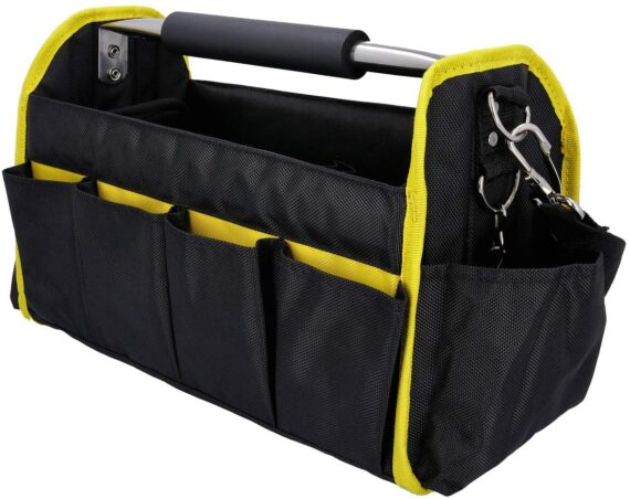 """Tough Master TM-TB0116 16"""" Heavy Duty Open Foldable 14 Pockets Large Tote Tool Bag with Removable Strap"""