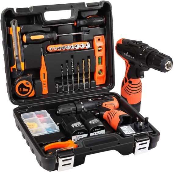 LETTON Cordless Screwdriver Drill Tool Kit 48pc Tool Set Drill Driver Power Tools Set with 16.8V Cordless Electric Screwdriver and 2 Lithium-Ion Batteries for Home, UK 3-Pin Plug Included