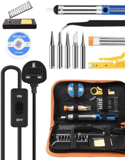 Soldering Iron Kit, Tabiger 60W Welding Tools with Adjustable Temp 200-450°C and ON/Off Switch, 5 Soldering Tips, Desoldering Pump, Solder Wire, Wire Stripper Cutter, Stand, Tool Case