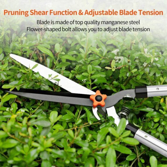 """Garden Hedge Shears, 27"""" Pruning Shears with Non-slip Grip, Extendable Steel Handle, Hedge Clippers for Trimming Borders, Boxwood and Bushes"""